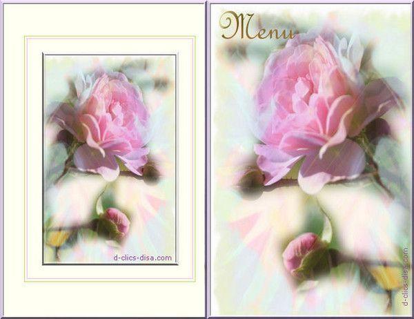 Carton menu roses - Marque place a imprimer gratuitement anniversaire ...